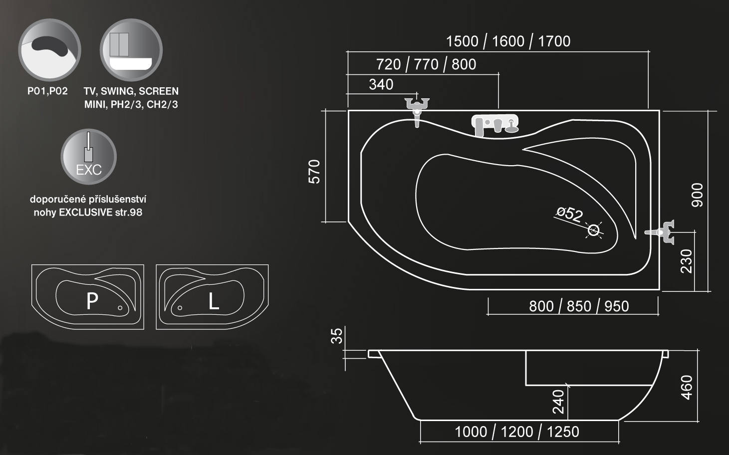 Roltechnik Activa Aszimmetrikus kád 150 x 90 cm