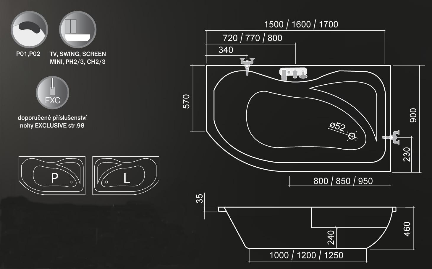 Roltechnik Activa Aszimmetrikus kád 170 x 90 cm