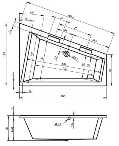 Riho Doppio Aszimmetrikus kád 180 x 130 cm