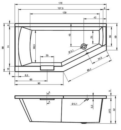 Riho Geta Aszimmetrikus kád 170 x 90 cm