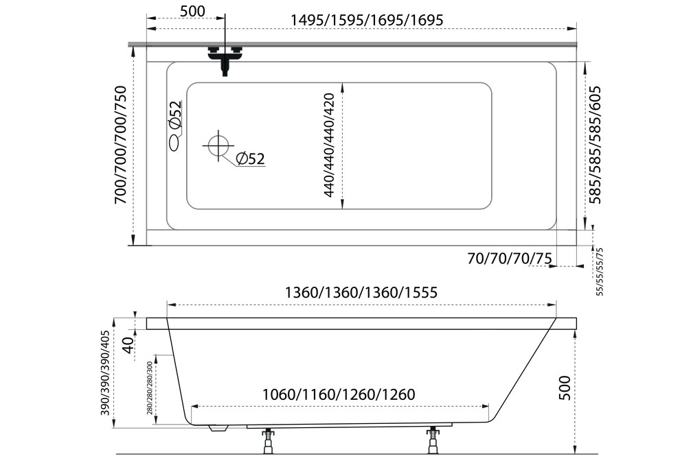 M-Acryl Eco egyenes kád 150x70 cm