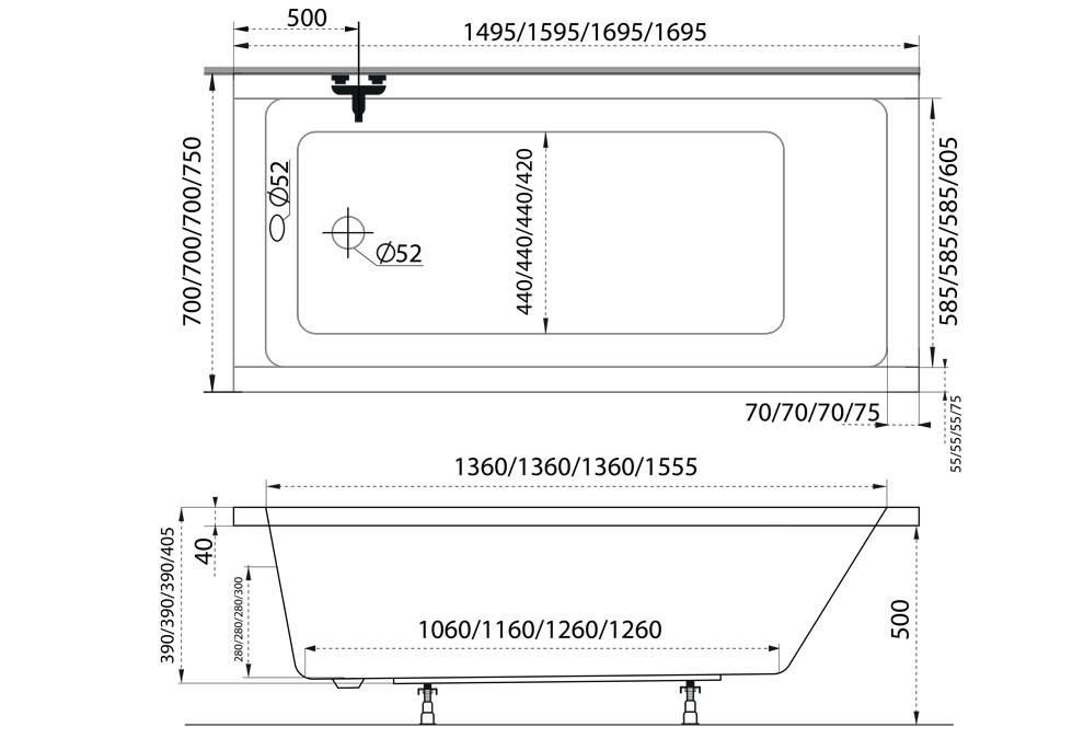 M-Acryl Eco egyenes kád 170x75 cm