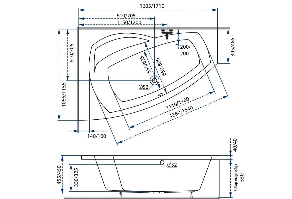 M-Acryl Claudia aszimmetrikus kád 170x115 cm