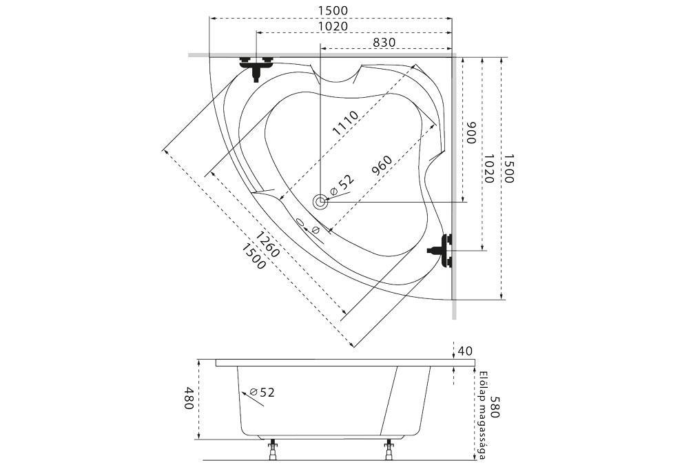 M-Acryl Melody sarokkád 150x150 cm