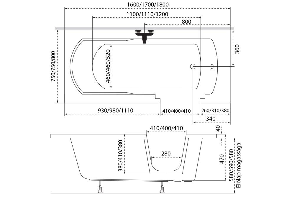 M-Acryl Héra egyenes akril kád 160x75 cm