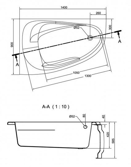Cersanit Joanna New Aszimmetrikus kád 140 x 90 cm