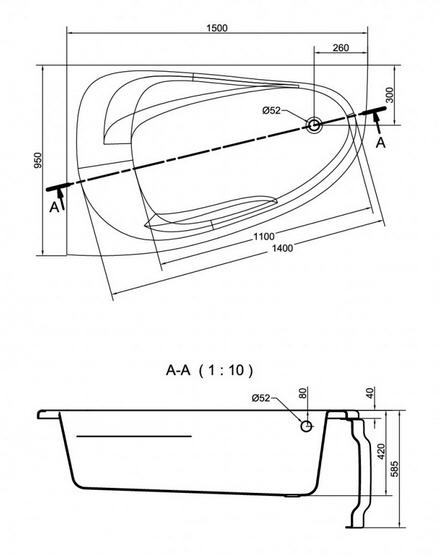 Cersanit Joanna New Aszimmetrikus kád 150 x 95 cm
