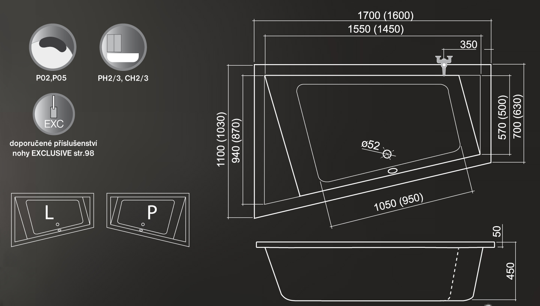 Roltechnik Kubic Asymmetric Aszimmetrikus kád 160 x 70 cm