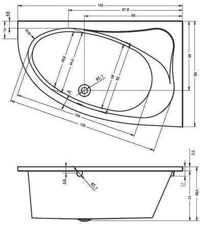 Riho Lyra Aszimmetrikus kád 140 x 90 cm