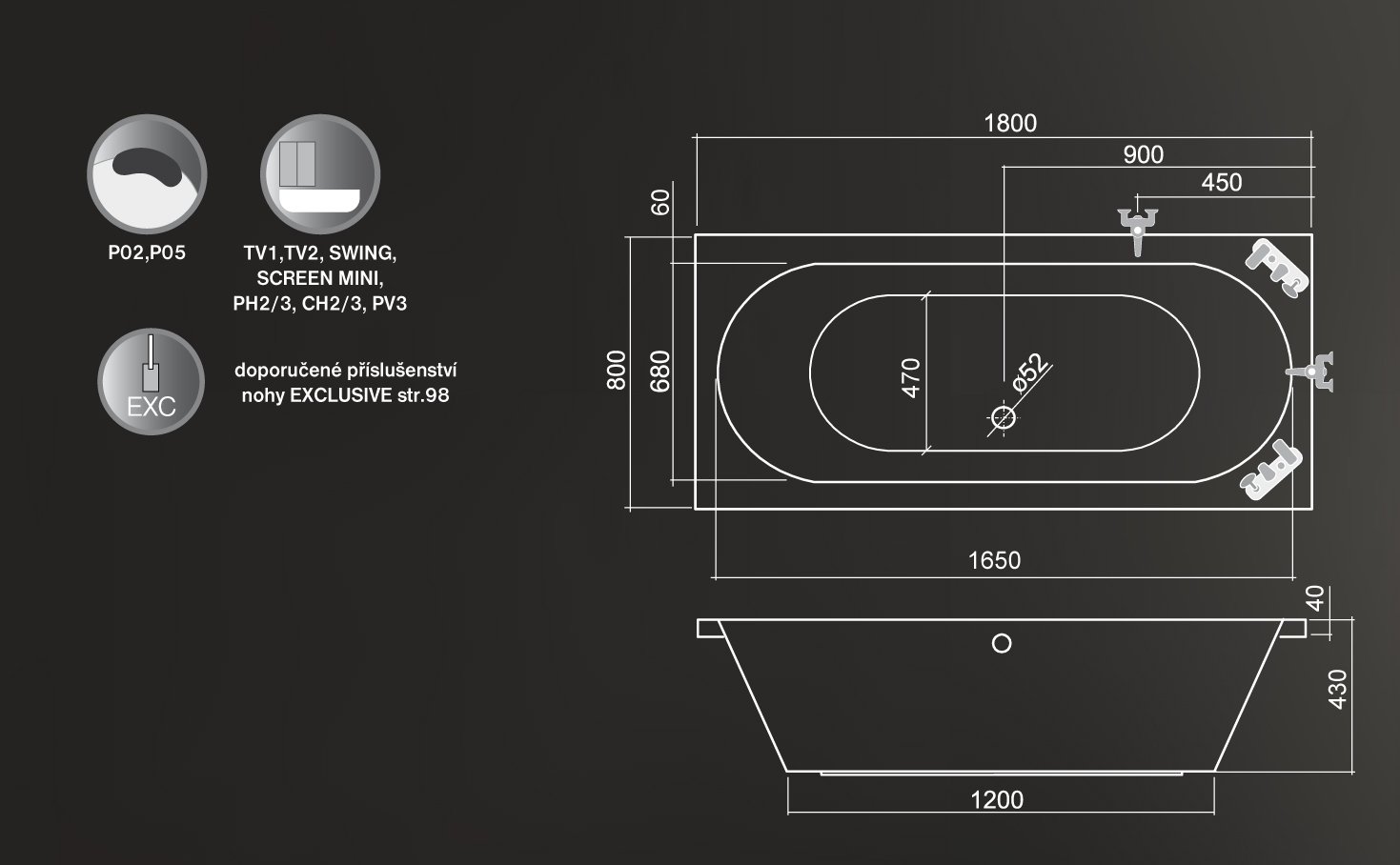 Roltechnik Malibu Egyenes kád 180 x 80 cm