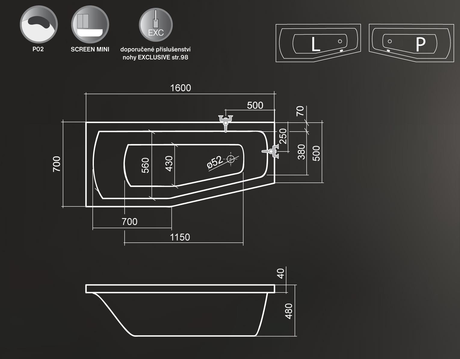 Roltechnik Mini Aszimmetrikus kád 160 x 70 cm