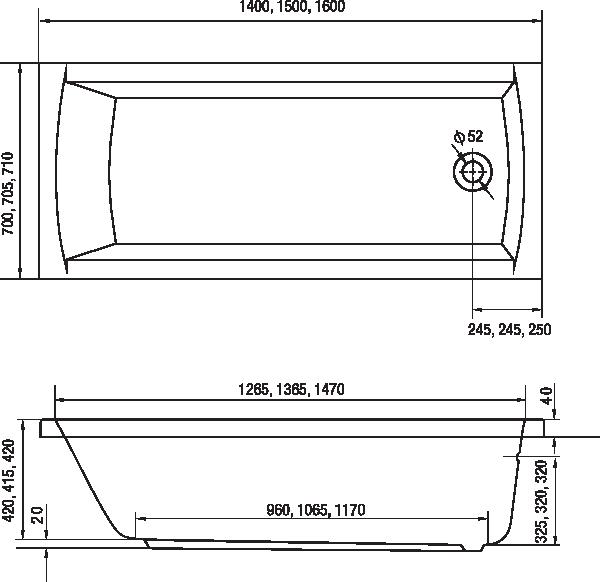 Hopa Monza Egyenes kád 150 x 70 cm