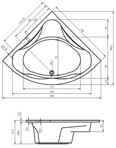 Riho Neo Sarokkád 140 x 140 cm