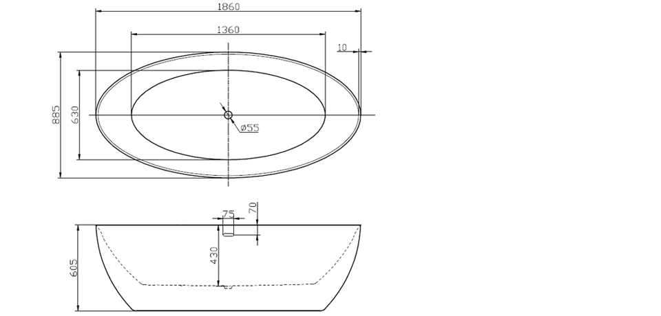 Wellis Oval Térben álló akrilkád 186 x 88,5 cm