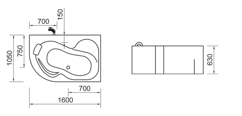Wellis Palma Aszimmetrikus kád 160 x 105 cm