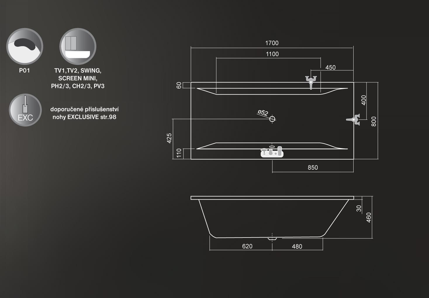 Roltechnik Savona Egyenes kád 170 x 80 cm