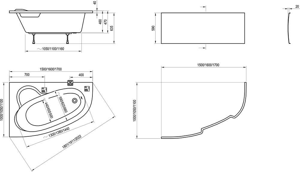 Ravak Asymmetric Aszimmetrikus kád 160 x 105 cm