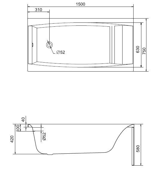 Cersanit Virgo Egyenes kád 150 x 75 cm